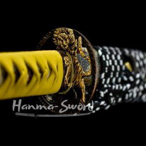 clay tempered Damascus steel blade japanese samurai katana tiger guard sword razor sharp #HM0009 - hanma-sword