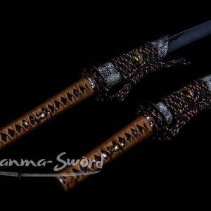 Handmade Japanese Samurai Daisho Katana Clay Tempered Choji Hamon Blade Sword #HM0035 - hanma-sword