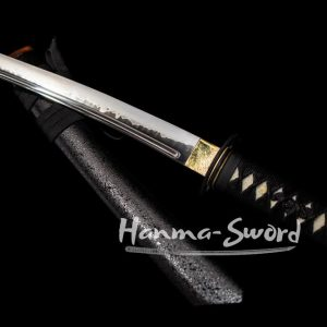 japanese samurai tanto sword clay tempered t10 steel choji hamon musashi tsuba #HM0042 - hanma-sword